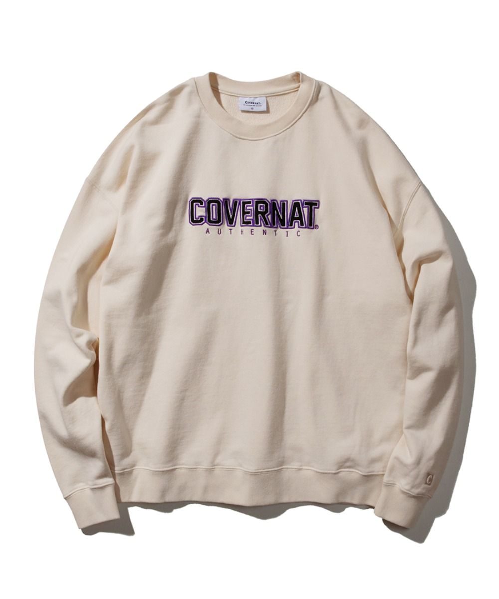 EMBROIDERY JERSEY LOGO CREWNECK IVORY