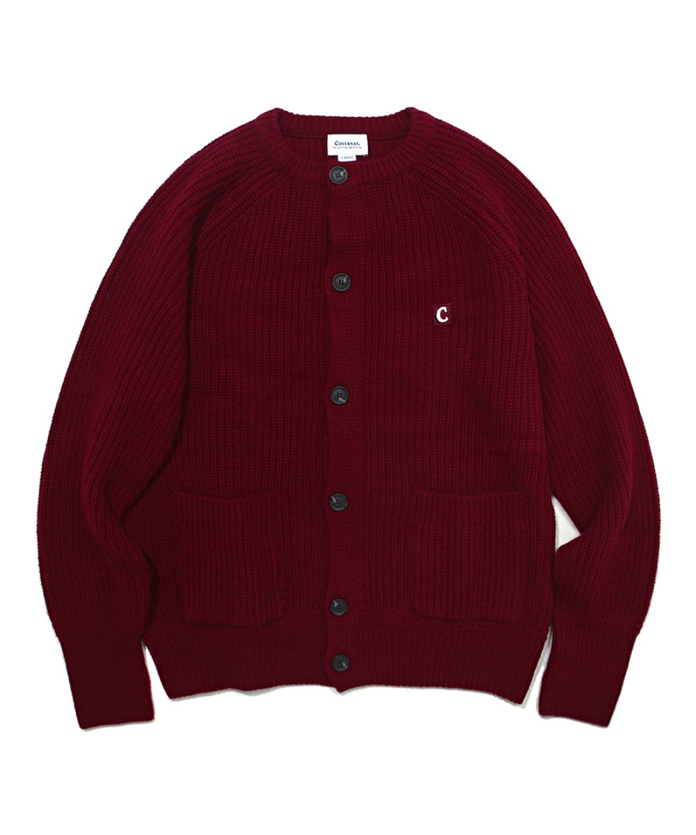 COVERNAT X TWC HEAVY GAUGE CARDIGAN BURGANDY