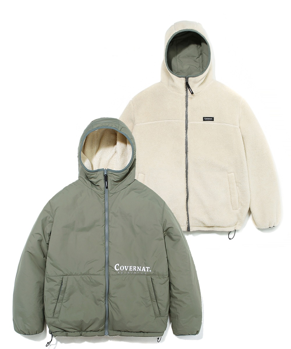 REVERSIBLE FLEECE WARM UP JACKET SAGE GREEN