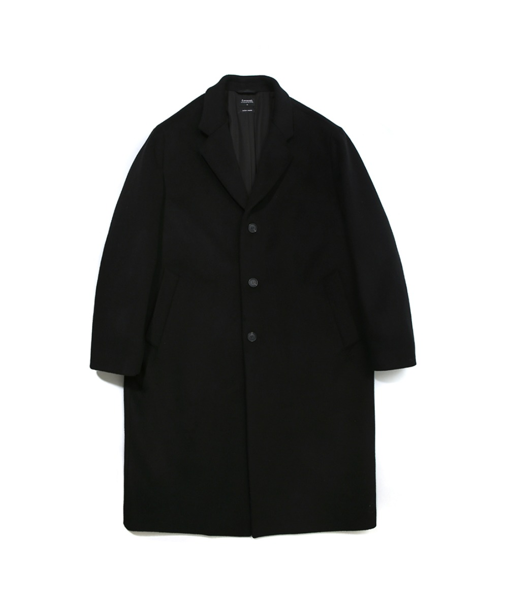 COVERNAT X TWC CASHMERE WOOL CHESTER COAT BLACK