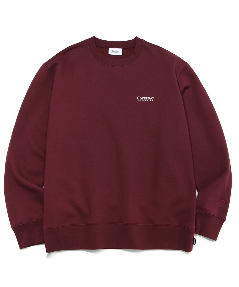SMALL AUTHENTIC LOGO CREWNECK BURGANDY