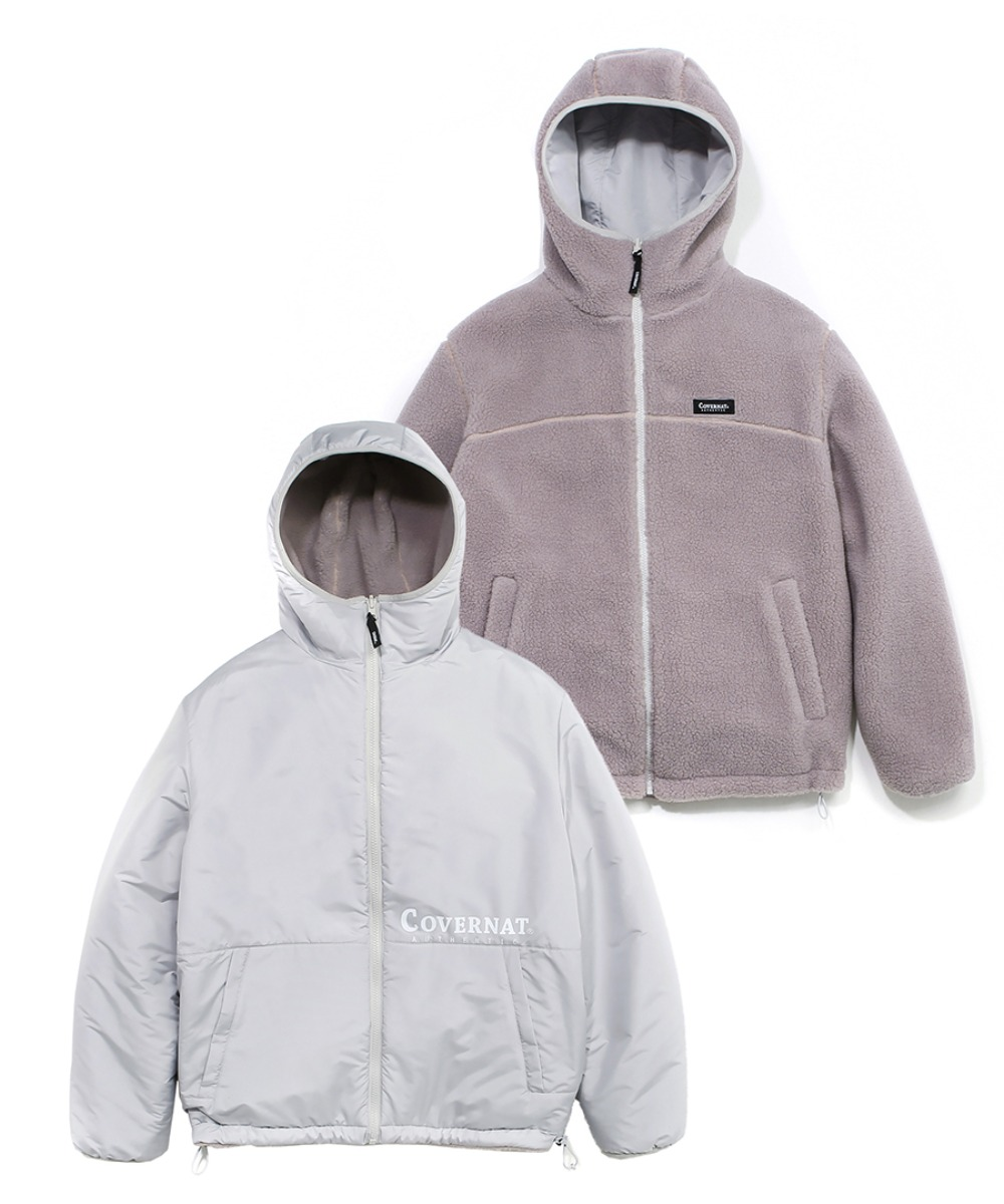 REVERSIBLE FLEECE WARM UP JACKET GRAY PINK