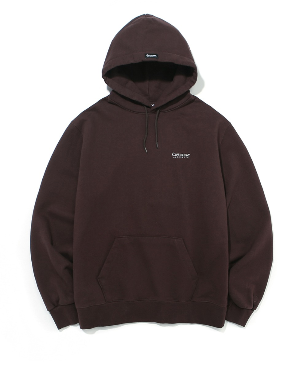 SMALL AUTHENTIC LOGO HOODIE BROWN
