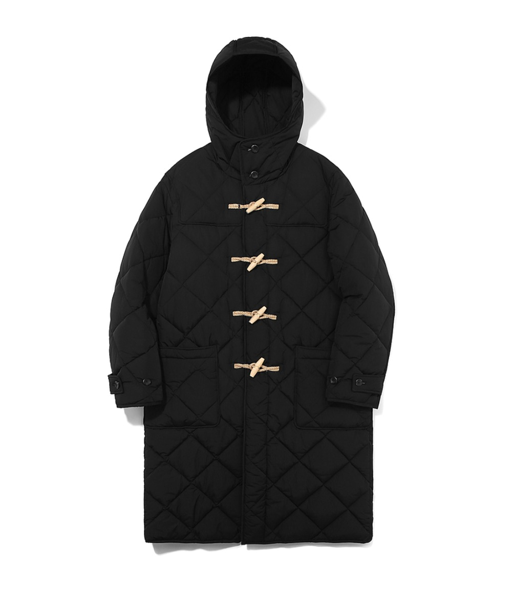 QUILTED DUFFLE COAT BLACK