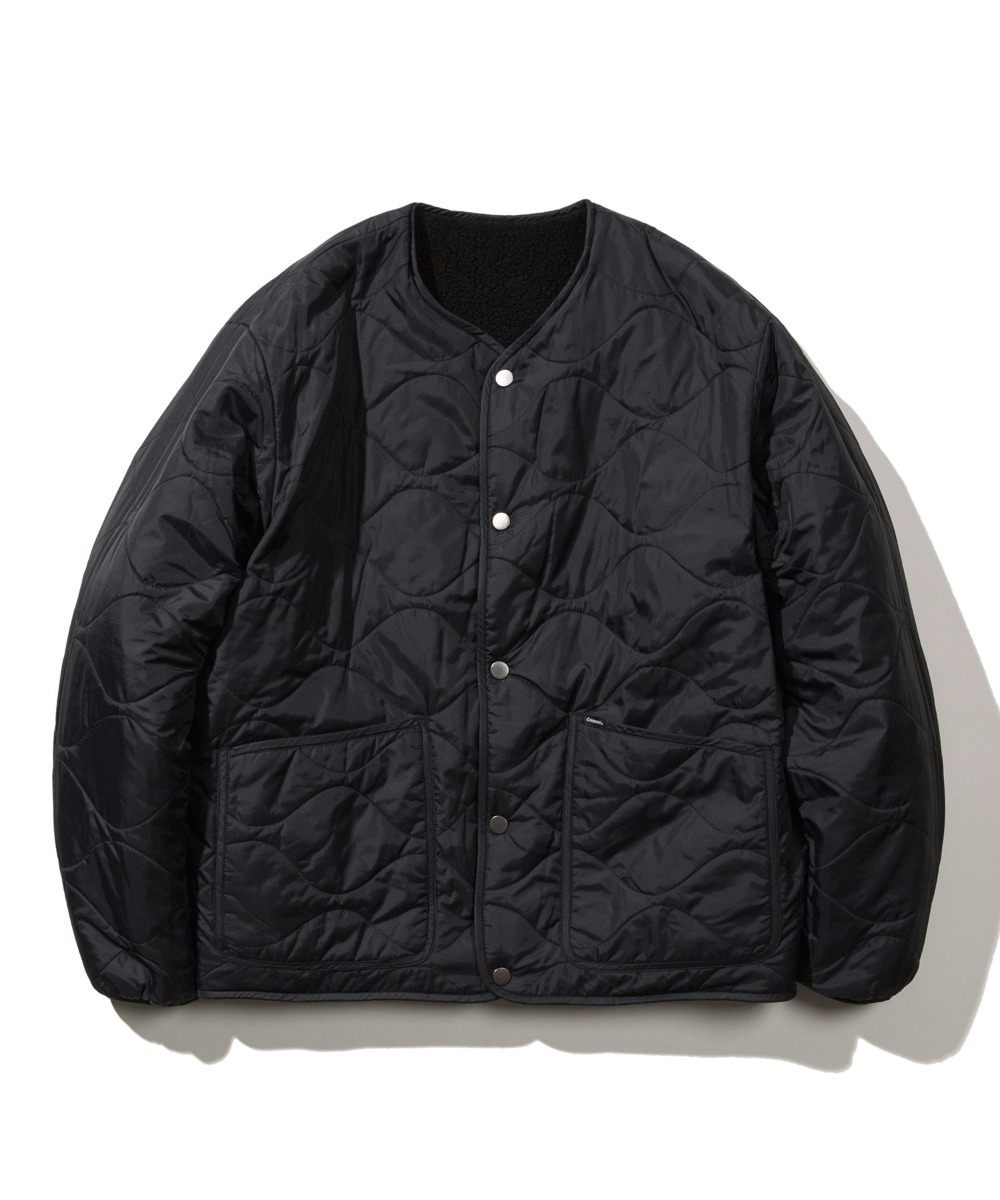 REVERSIBLE QUILTED FLEECE JACKET BLACK
