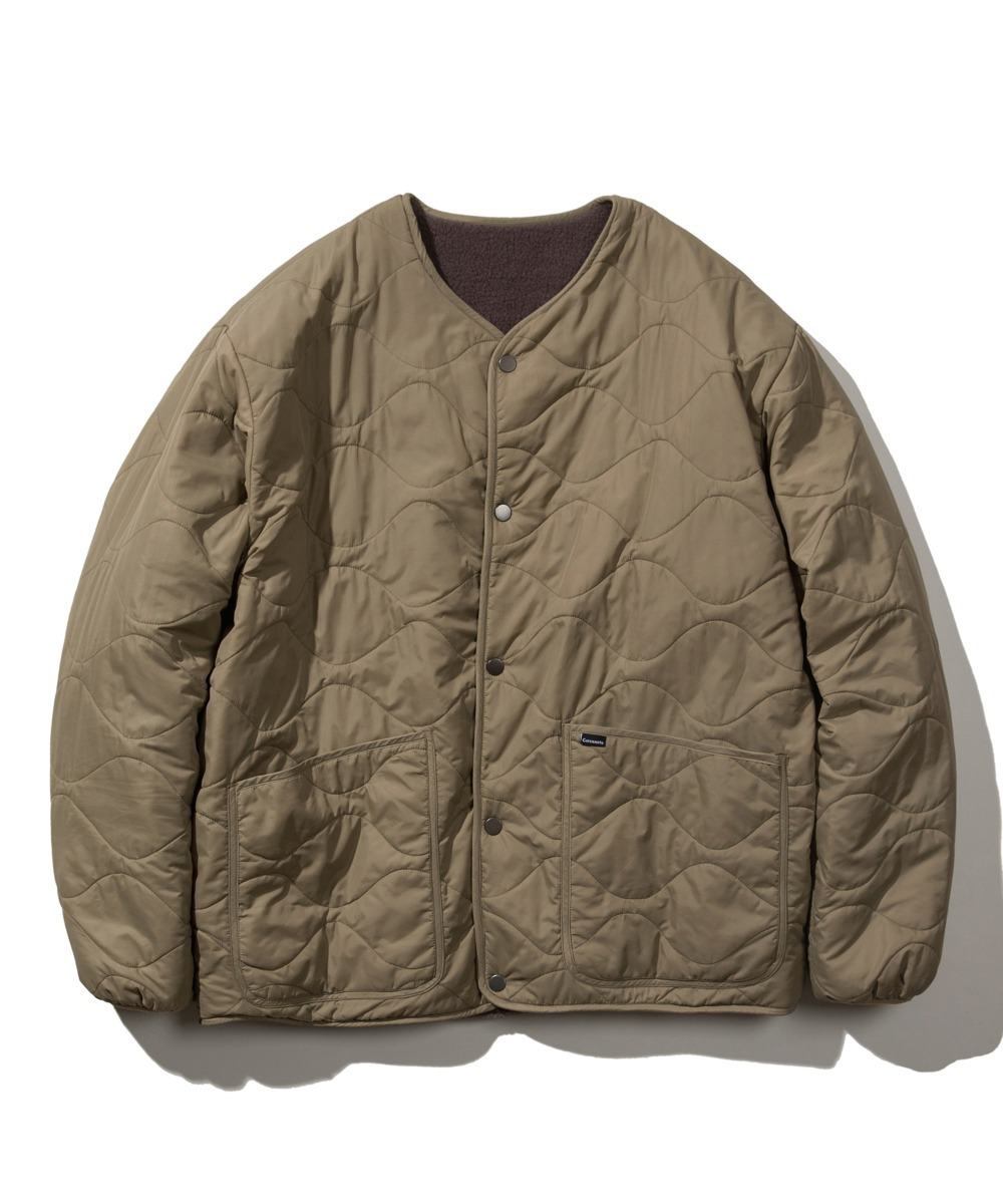 REVERSIBLE QUILTED FLEECE JACKET KHAKI