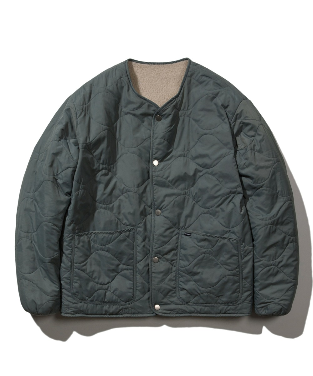 REVERSIBLE QUILTED FLEECE JACKET IV/BL